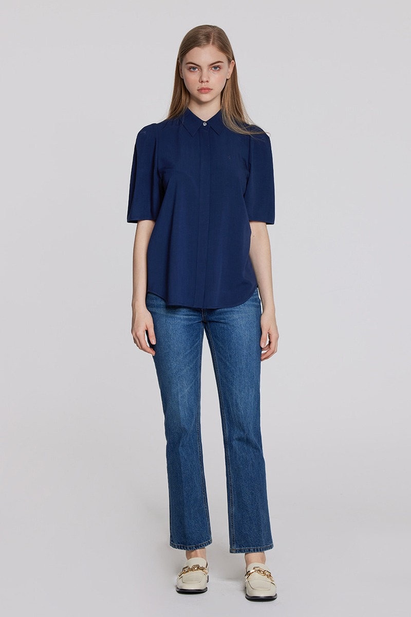 Puff Sleeves Blouse (navy)