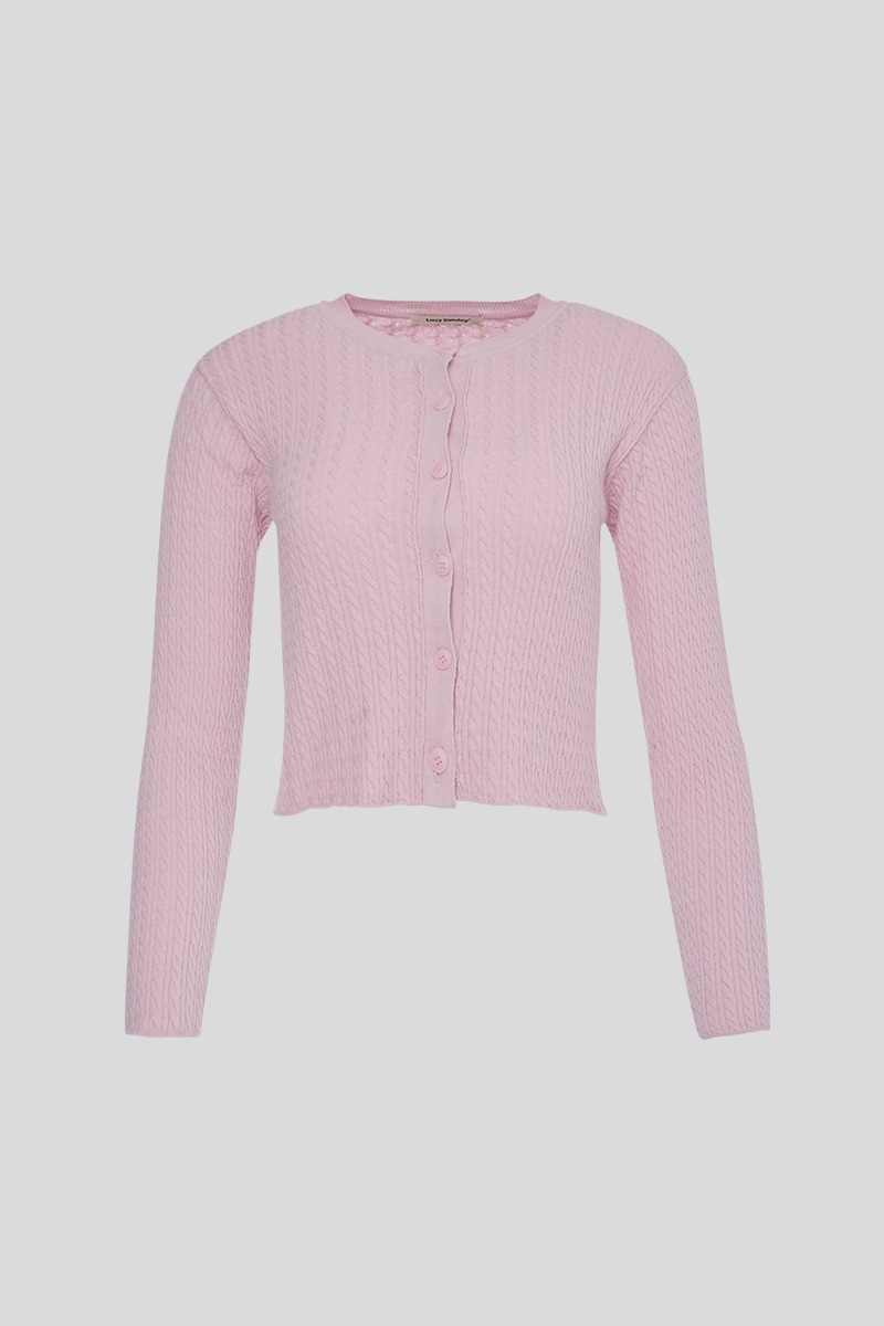 [LZSD]Cable cardigan (pink)
