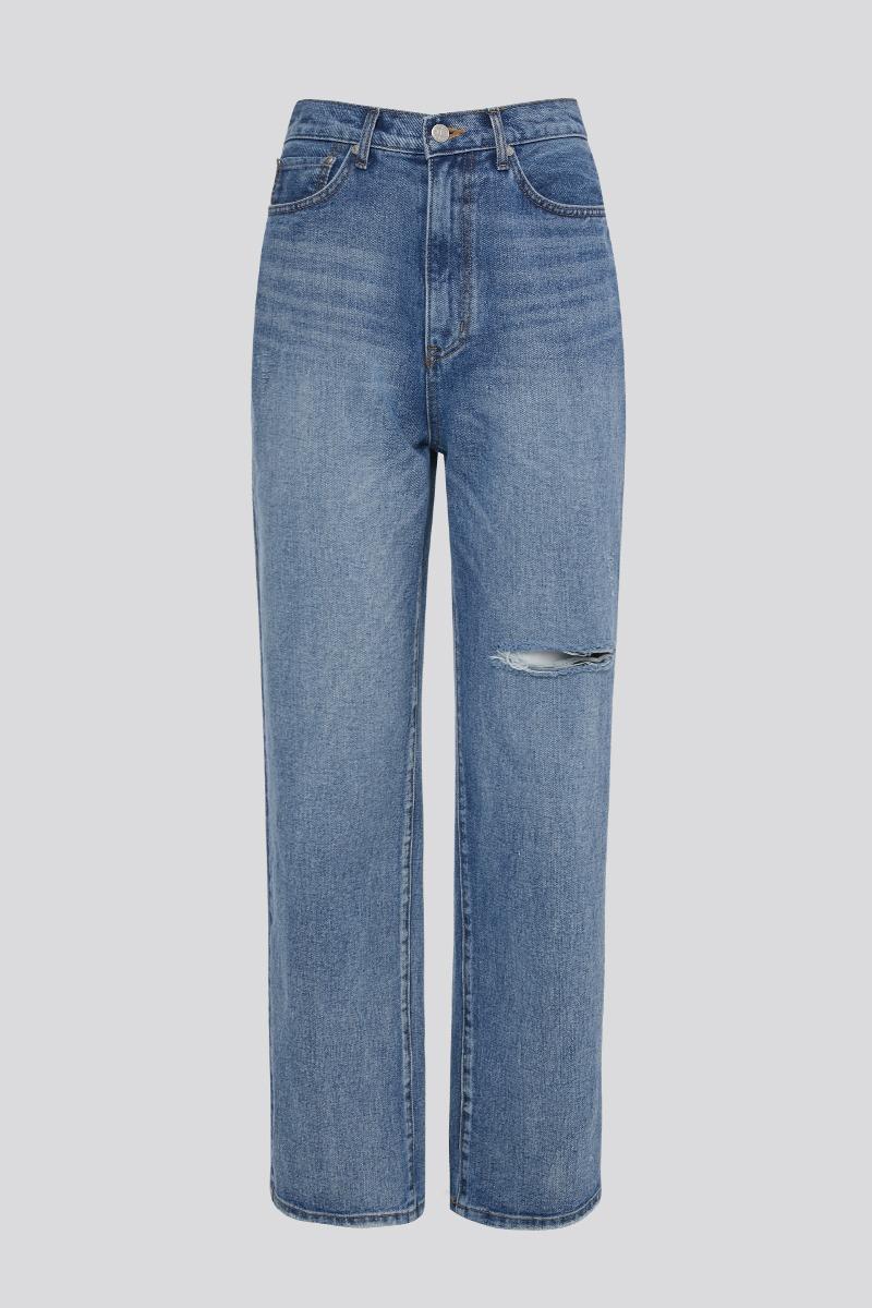 [LZSD]Distressed Wide Denim Jeans (blue)