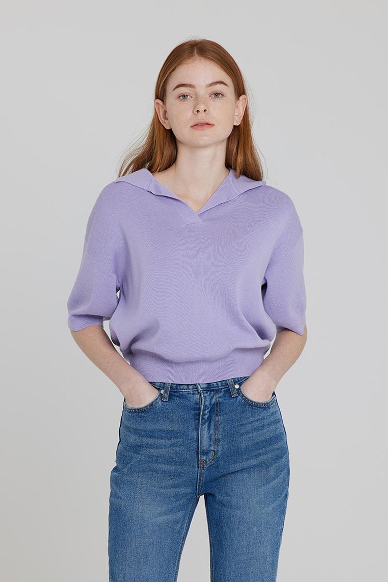 [LZSD]Collar short-sleeved knitwear (light violet)