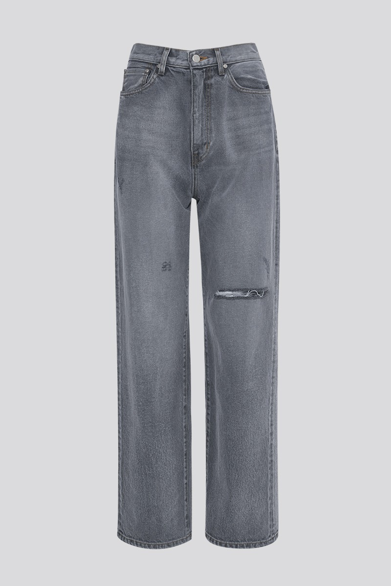 [LZSD]Damaged Wide denim pants (grey)