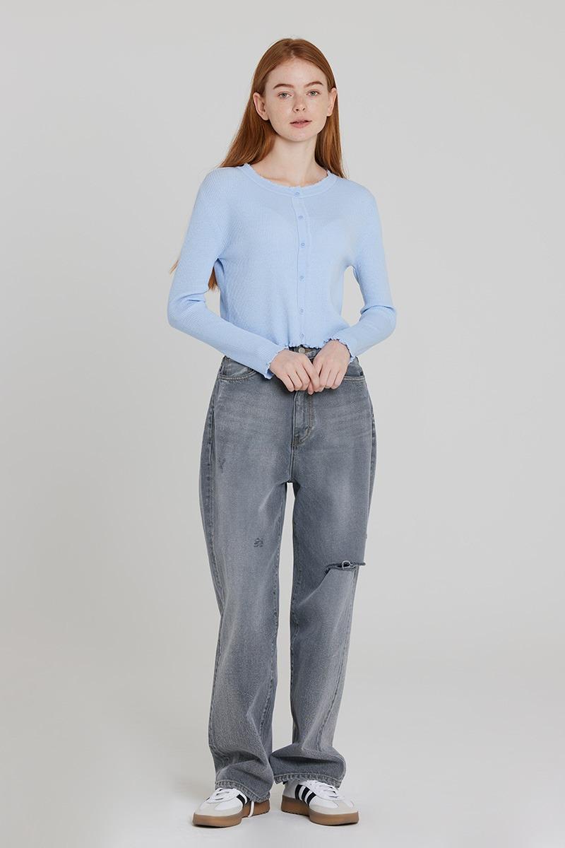 [LZSD]Ruffles long-sleeved cardigan (light blue)