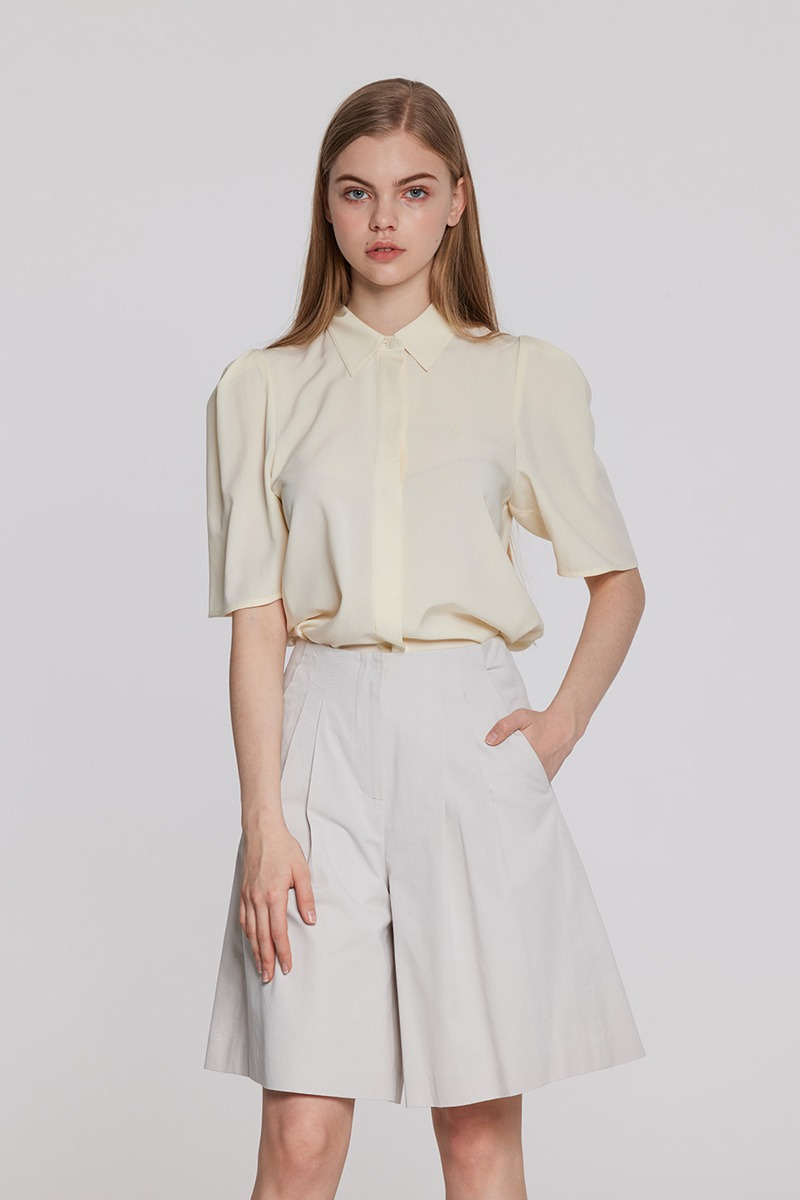 Puff Sleeves Blouse (light yellow)