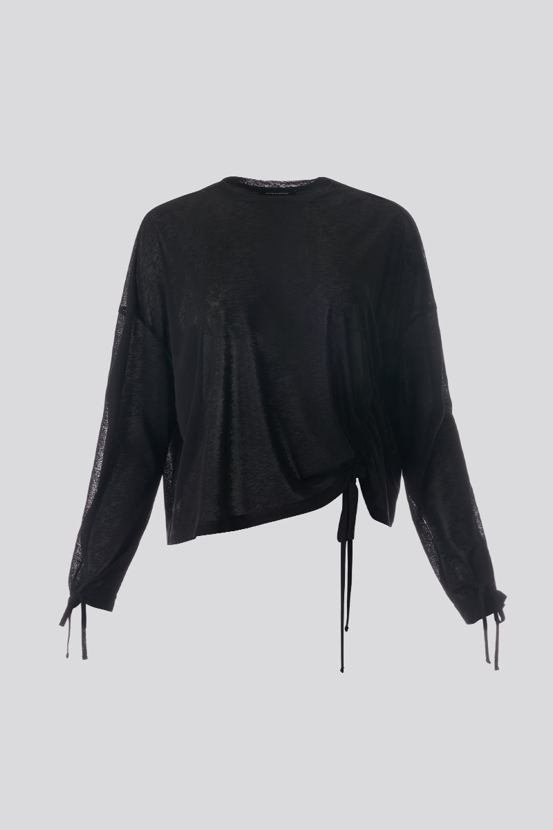 Ruched Long-Sleeved Top(black)