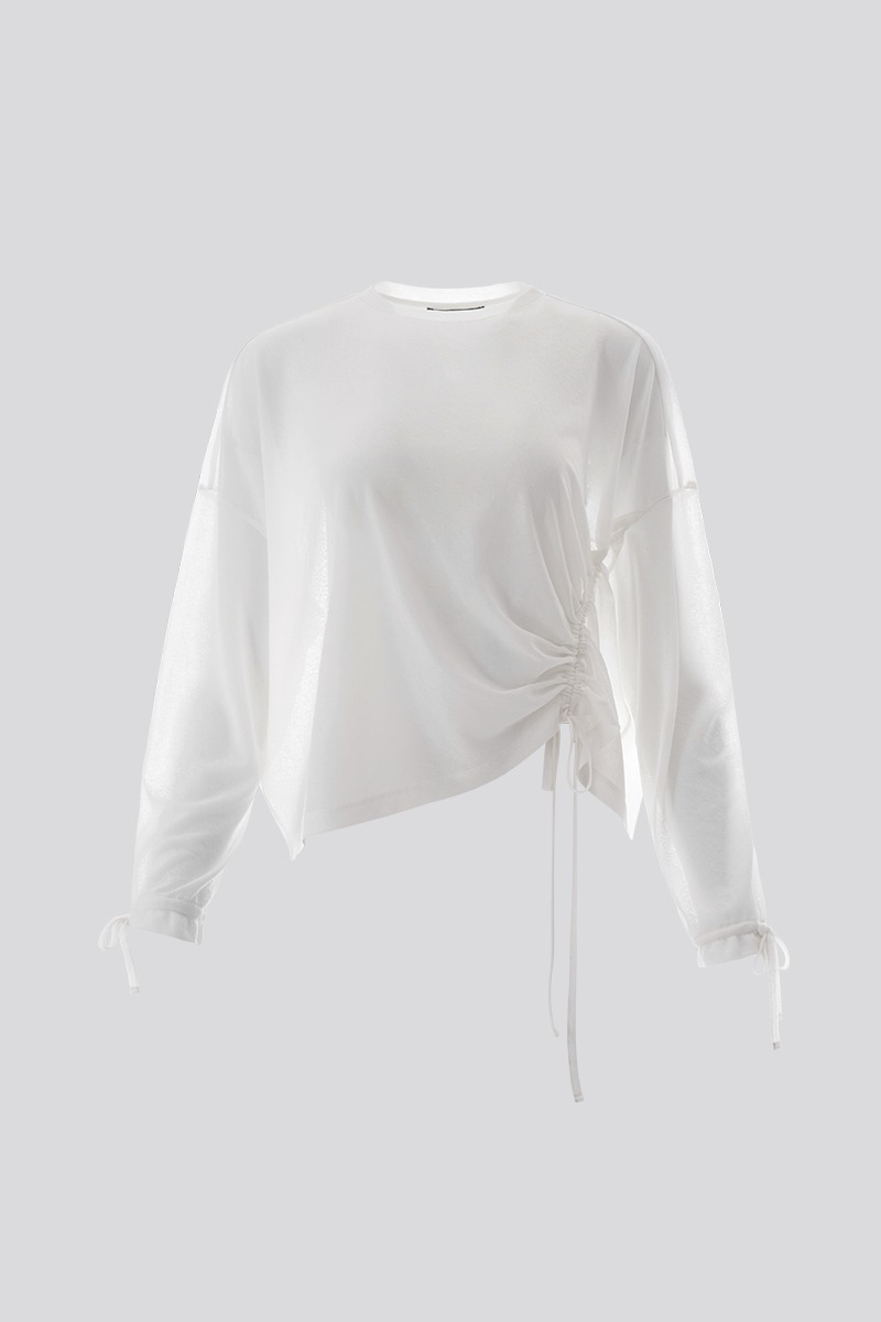 Ruched Long-Sleeved Top (white)