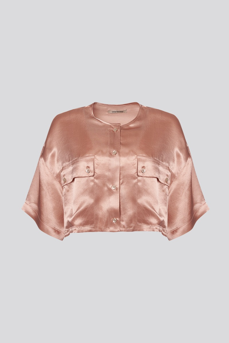 [LZSD] Round neck outpocket blouse (peach)