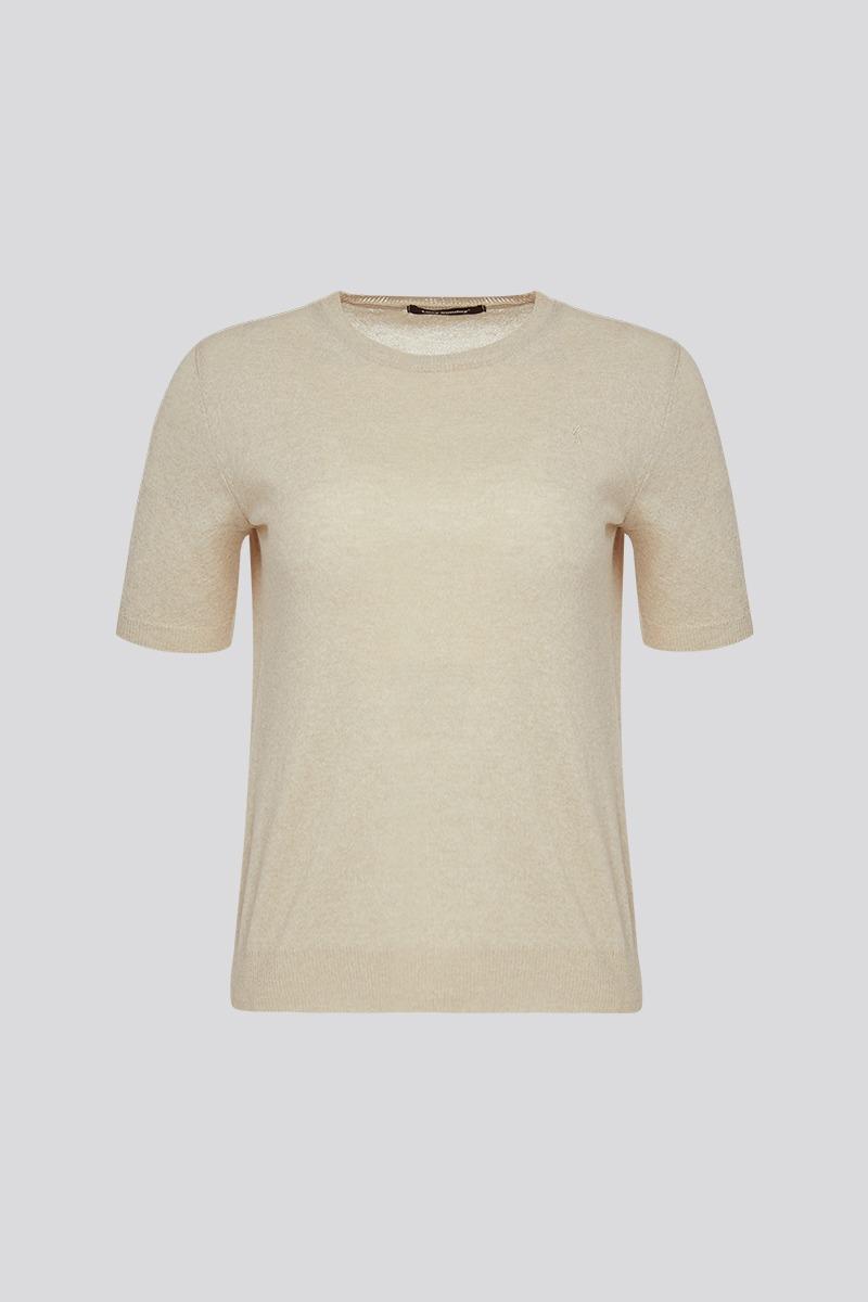 Round Neck Short-sleeved Knit Top (beige)